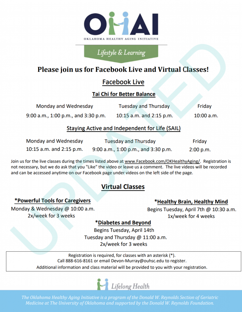 flyer for virtual health classes